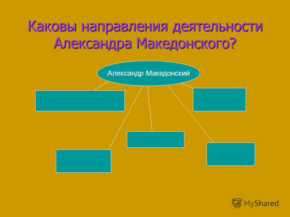 Каковы направления деятельности Александра Македонского? Александр Македонский