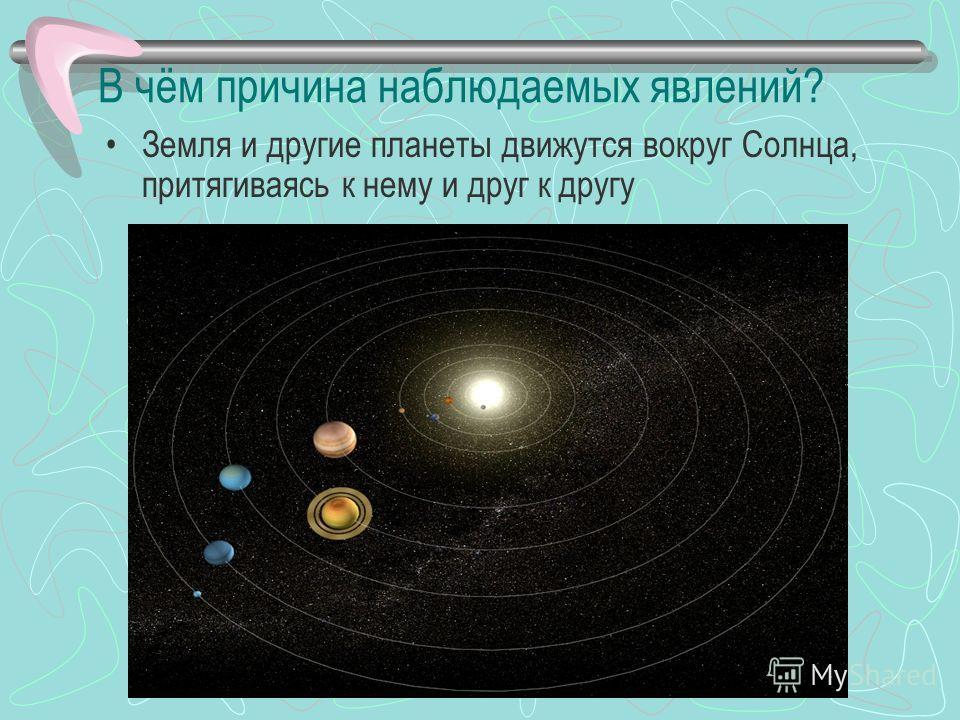 В чём причина наблюдаемых явлений? Земля и другие планеты движутся вокруг Солнца, притягиваясь к нему и друг к другу