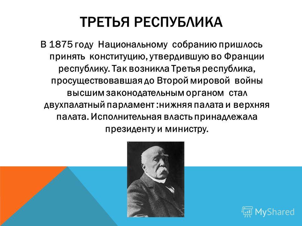 ТРЕТЬЯ РЕСПУБЛИКА В 1875 году Национальному собранию пришлось принять конституцию, утвердившую во Франции республику. Так возникла Третья республика, просуществовавшая до Второй мировой войны высшим законодательным органом стал двухпалатный парламент