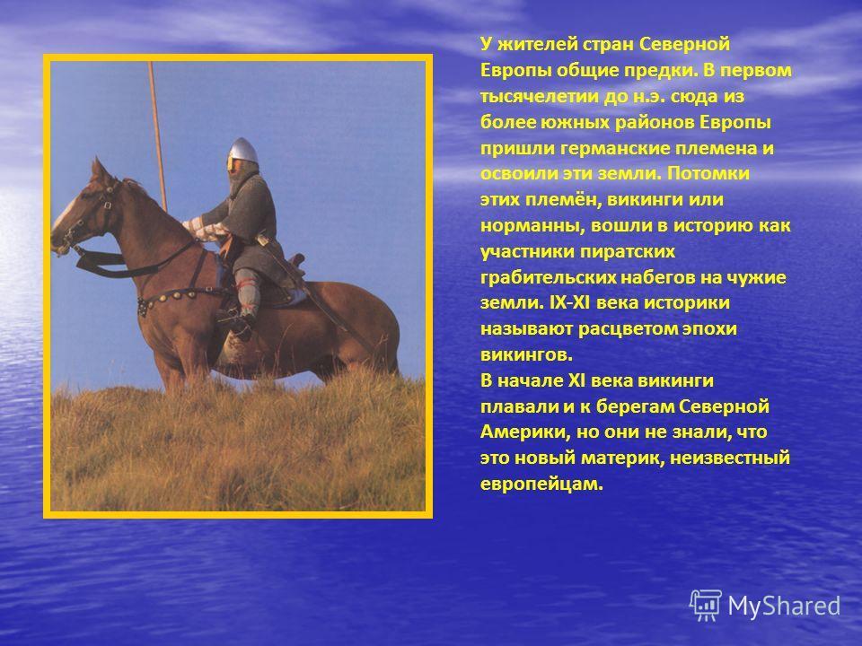 У жителей стран Северной Европы общие предки. В первом тысячелетии до н.э. сюда из более южных районов Европы пришли германские племена и освоили эти земли. Потомки этих племён, викинги или норманны, вошли в историю как участники пиратских грабительс