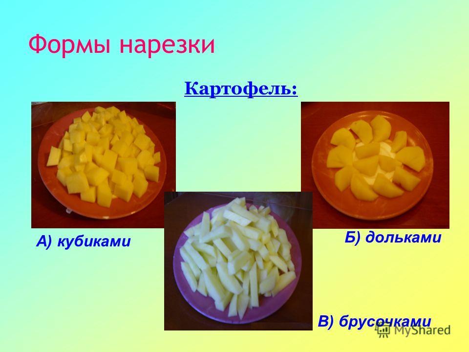 Формы нарезки Картофель: А) кубиками В) брусочками Б) дольками