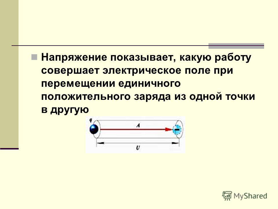 Напряжение показывает, какую работу совершает электрическое поле при перемещении единичного положительного заряда из одной точки в другую