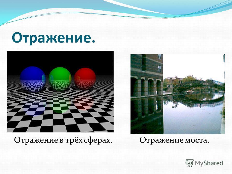 Отражение. Отражение в трёх сферах. Отражение моста.
