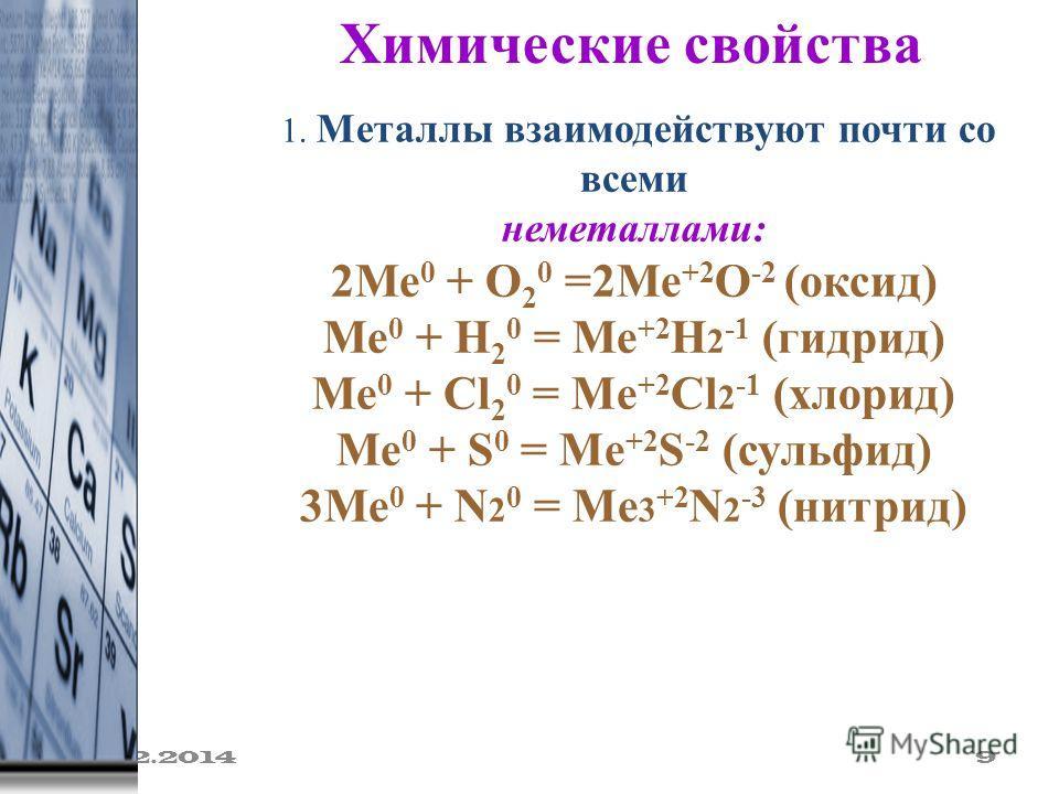 19.02.2014 9 Химические свойства 1. Металлы взаимодействуют почти со всеми неметаллами: 2Ме 0 + О 2 0 =2Ме +2 О -2 (оксид) Ме 0 + Н 2 0 = Ме +2 Н 2 -1 (гидрид) Ме 0 + Cl 2 0 = Mе +2 Cl 2 -1 (хлорид) Ме 0 + S 0 = Mе +2 S -2 (сульфид) 3Ме 0 + N 2 0 = M