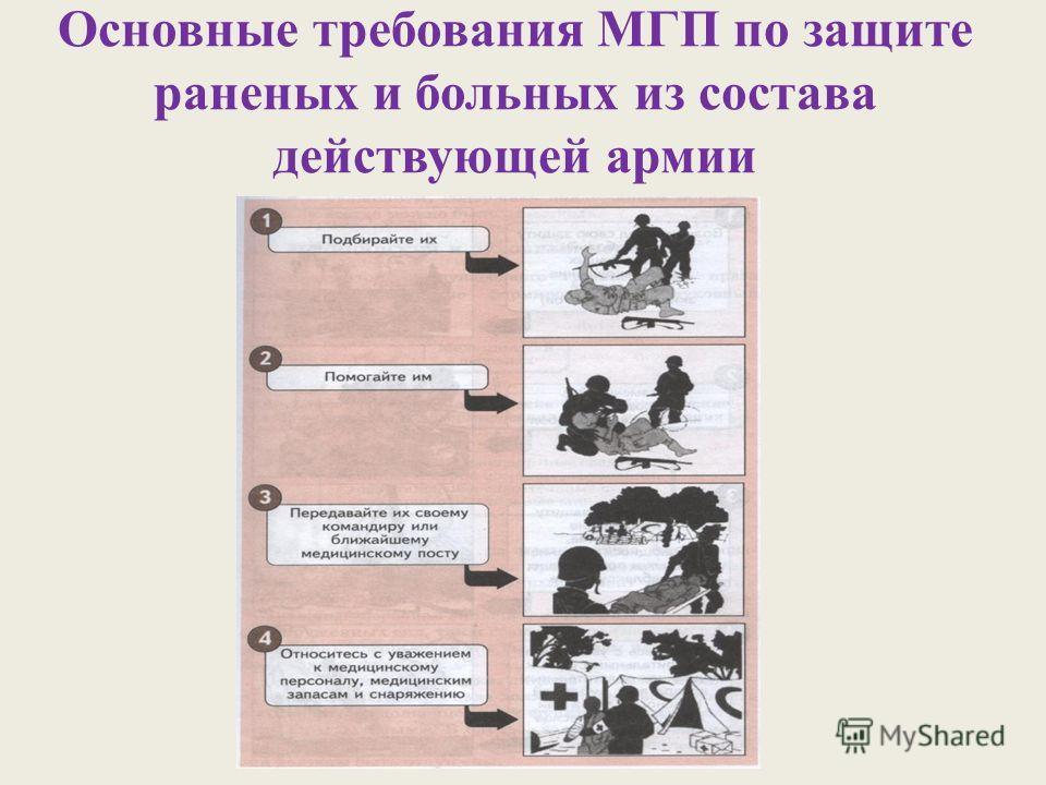 Основные требования МГП по защите раненых и больных из состава действующей армии