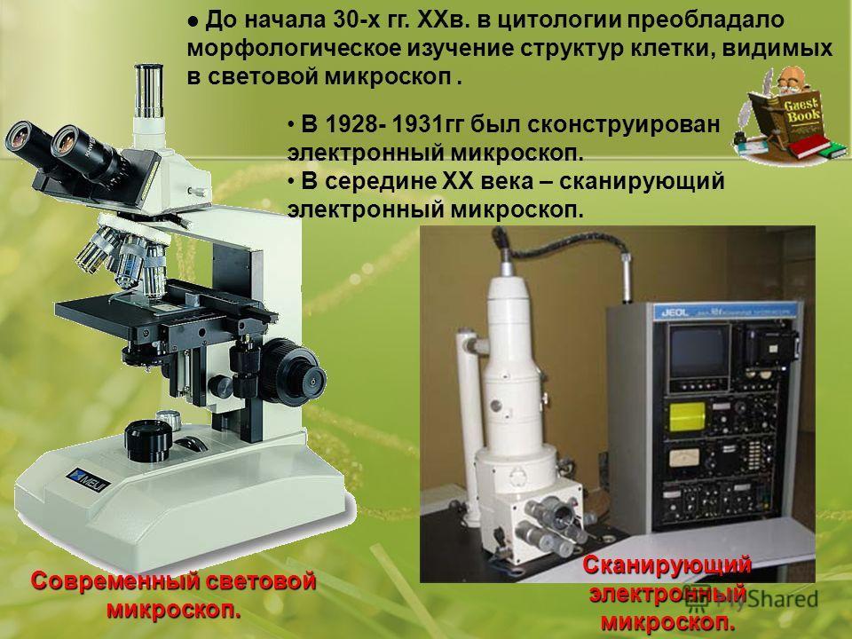 До начала 30-х гг. ХХв. в цитологии преобладало морфологическое изучение структур клетки, видимых в световой микроскоп. Современный световой микроскоп. В 1928- 1931гг был сконструирован электронный микроскоп. В середине ХХ века – сканирующий электрон