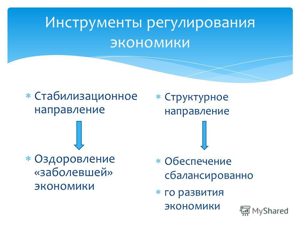 Инструменты регулирования экономики Стабилизационное направление Оздоровление «заболевшей» экономики Структурное направление Обеспечение сбалансированно го развития экономики