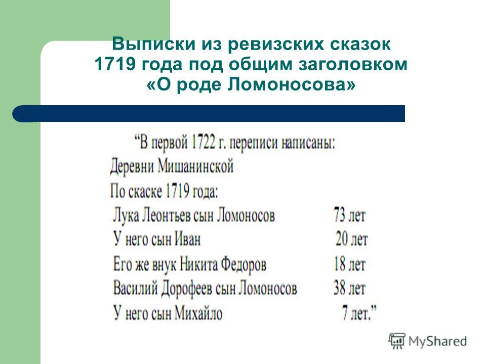Выписки из ревизских сказок 1719 года под общим заголовком «О роде Ломоносова»