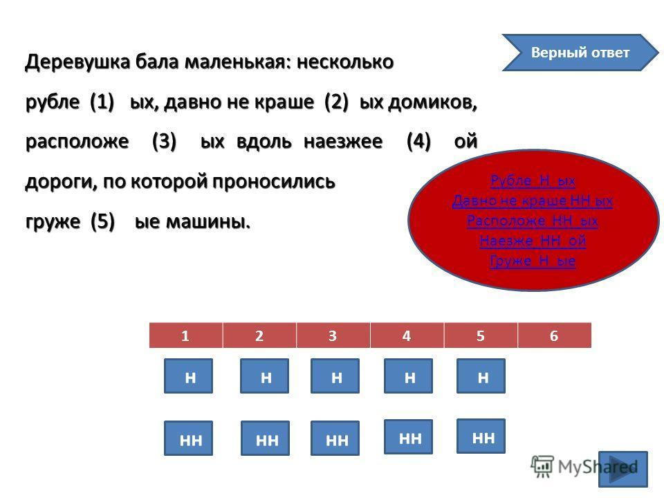Деревушка бала маленькая: несколько рубле (1) ых, давно не краше (2) ых домиков, расположе (3) ых вдоль наезжее (4) ой дороги, по которой проносились груже (5) ые машины. 123456 н нн н н н н Верный ответ Рубле Н ых Давно не краше НН ых Расположе НН ы