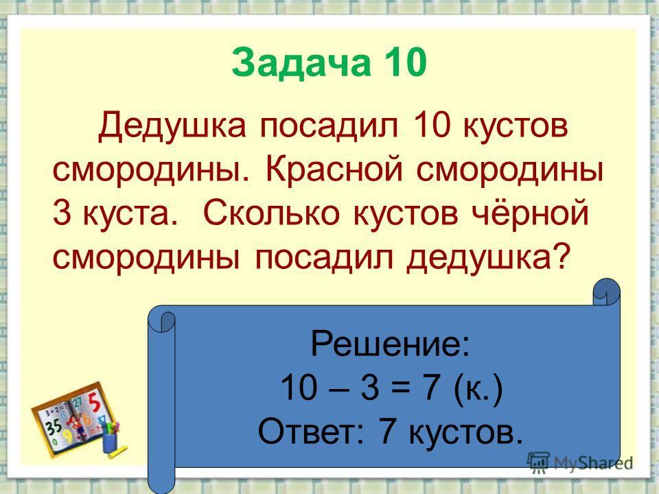 Задача 10 Дедушка посадил 10 кустов смородины. Красной смородины 3 куста. Сколько кустов чёрной смородины посадил дедушка? Решение: 10 – 3 = 7 (к.) Ответ: 7 кустов.