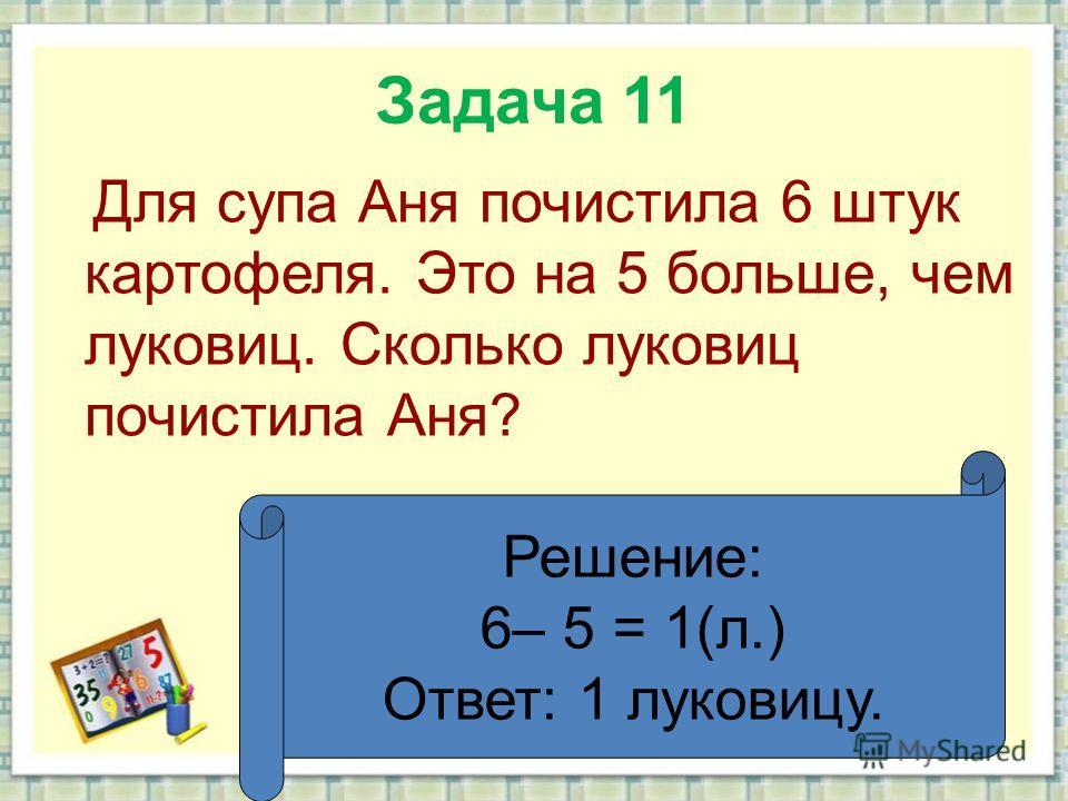 Задача 11 Для супа Аня почистила 6 штук картофеля. Это на 5 больше, чем луковиц. Сколько луковиц почистила Аня? Решение: 6– 5 = 1(л.) Ответ: 1 луковицу.