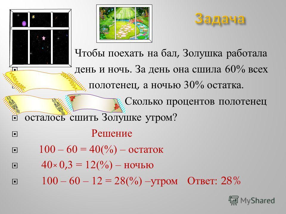 Чтобы поехать на бал, Золушка работала день и ночь. За день она сшила 60% всех полотенец, а ночью 30% остатка. Сколько процентов полотенец осталось сшить Золушке утром ? Решение 100 – 60 = 40(%) – остаток 40 × 0,3 = 12(%) – ночью 100 – 60 – 12 = 28(%
