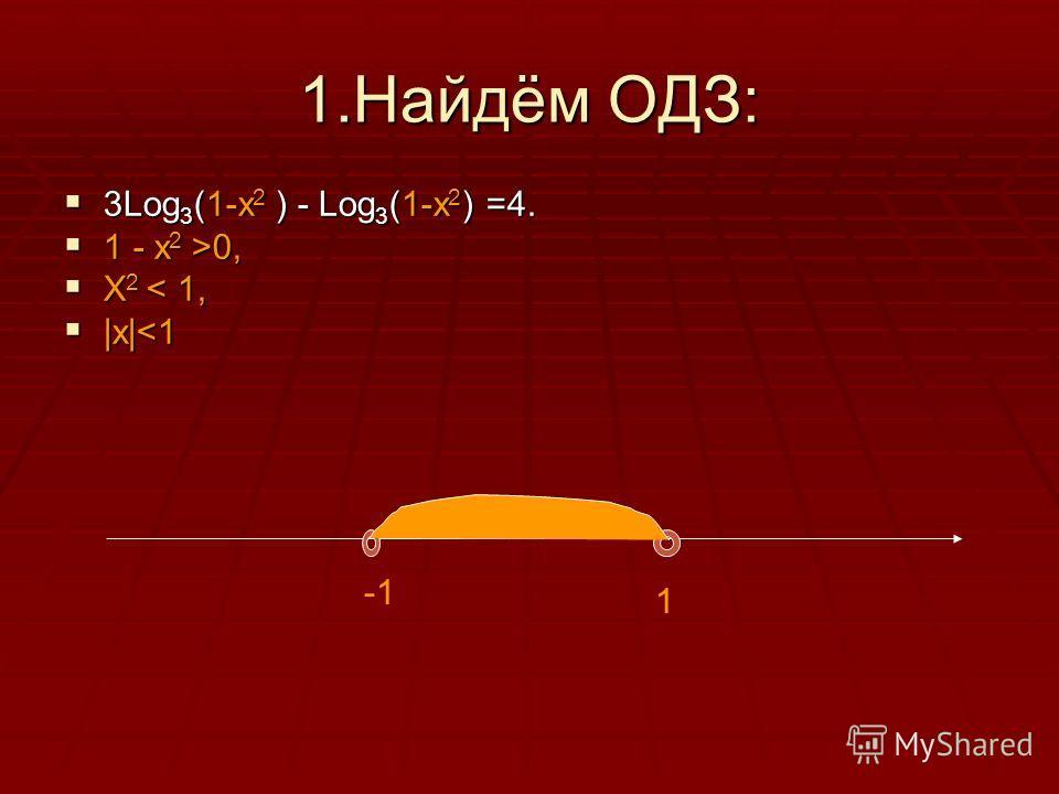 1.Найдём ОДЗ: 3Log 3 (1-x 2 ) - Log 3 (1-x 2 ) =4. 3Log 3 (1-x 2 ) - Log 3 (1-x 2 ) =4. 1 - x 2 >0, 1 - x 2 >0, X 2 < 1, X 2 < 1, |x|
