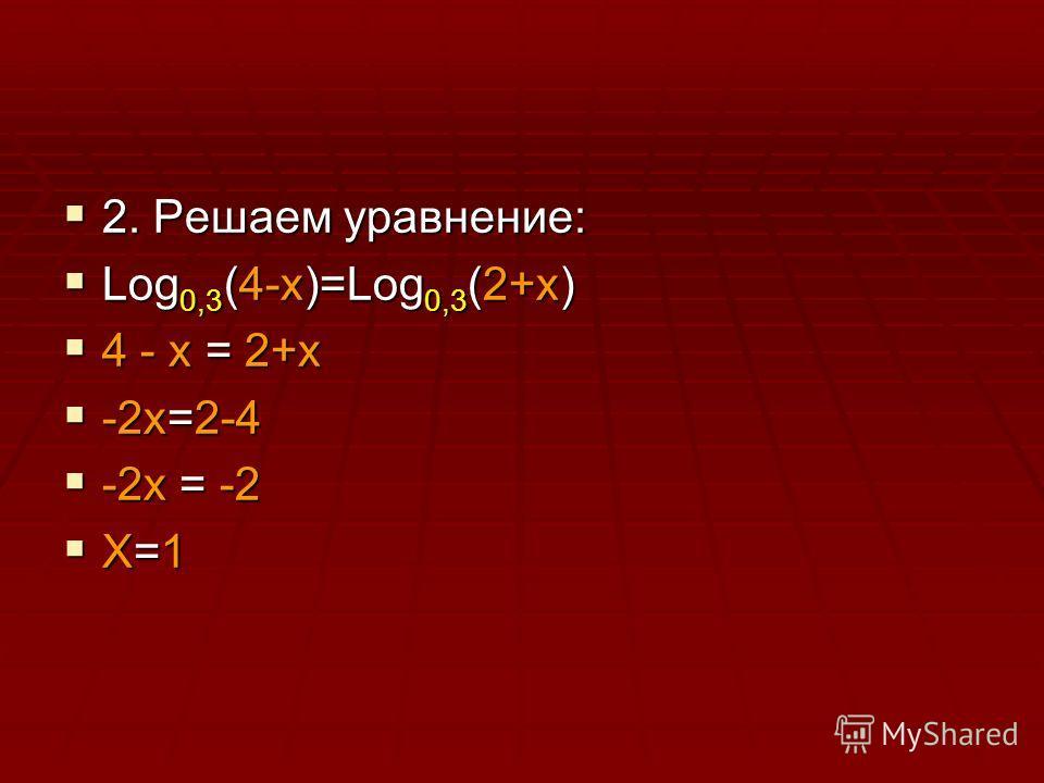 2. Решаем уравнение: 2. Решаем уравнение: Log 0,3 (4-x)=Log 0,3 (2+x) Log 0,3 (4-x)=Log 0,3 (2+x) 4 - x = 2+x 4 - x = 2+x -2x=2-4 -2x=2-4 -2x = -2 -2x = -2 X=1 X=1