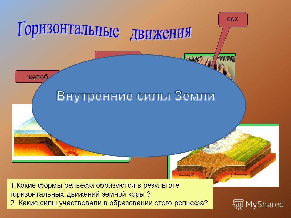 желоб горы ГорыГоры сох 1.Какие формы рельефа образуются в результате горизонтальных движений земной коры ? 2. Какие силы участвовали в образовании этого рельефа?