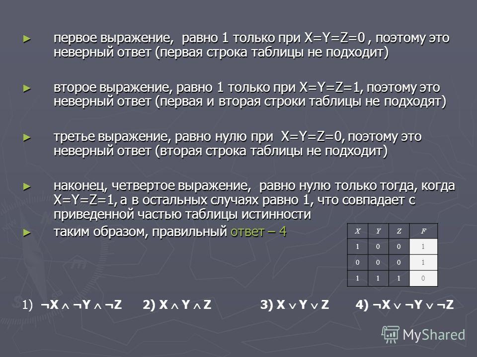 первое выражение, равно 1 только при X=Y=Z=0, поэтому это неверный ответ (первая строка таблицы не подходит) первое выражение, равно 1 только при X=Y=Z=0, поэтому это неверный ответ (первая строка таблицы не подходит) второе выражение, равно 1 только