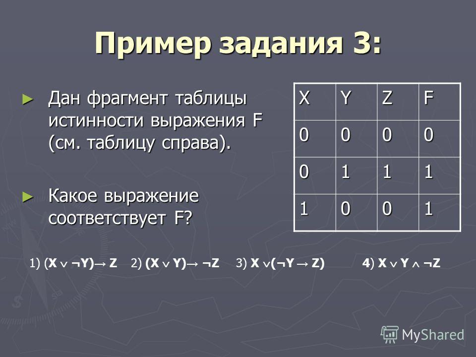 Пример задания 3: Дан фрагмент таблицы истинности выражения F (см. таблицу справа). Дан фрагмент таблицы истинности выражения F (см. таблицу справа). Какое выражение соответствует F? Какое выражение соответствует F? XYZF 0000 0111 1001 1) (X ¬Y) Z 2)