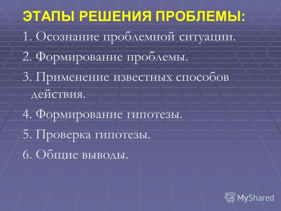 ЭТАПЫ РЕШЕНИЯ ПРОБЛЕМЫ: 1. Осознание проблемной ситуации. 2. Формирование проблемы. 3. Применение известных способов действия. 4. Формирование гипотезы. 5. Проверка гипотезы. 6. Общие выводы.