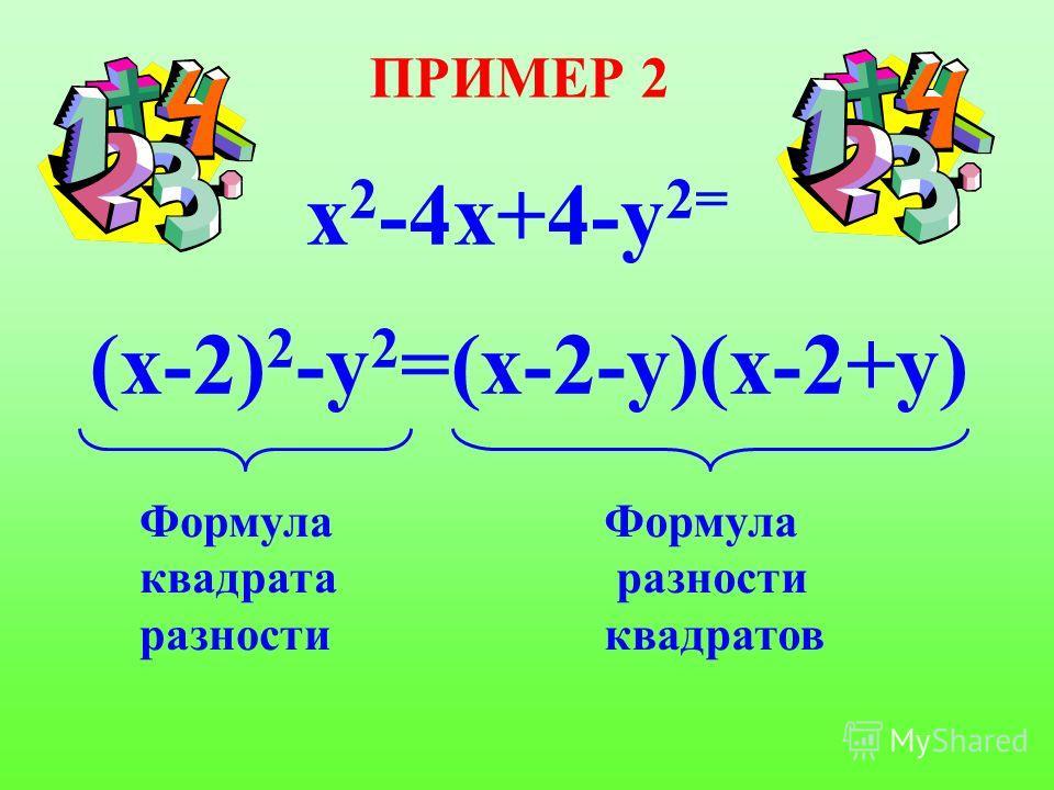 ПРИМЕР 2 х 2 -4х+4-y 2= (х-2) 2 -у 2 =(х-2-у)(х-2+у) Формула квадрата разности Формула разности квадратов