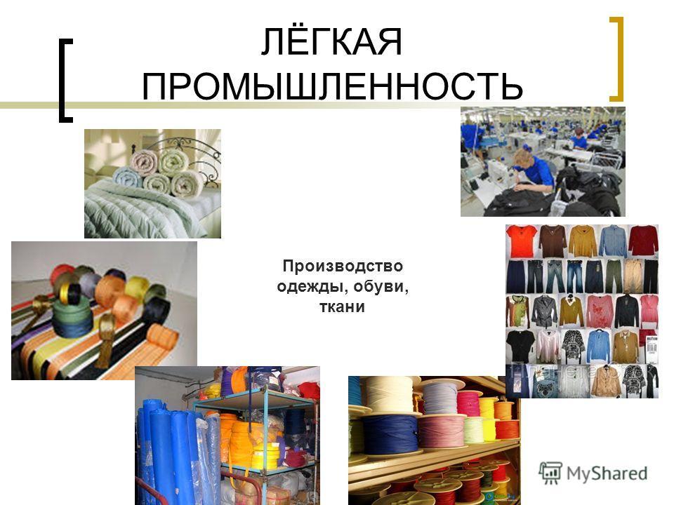 ЛЁГКАЯ ПРОМЫШЛЕННОСТЬ Производство одежды, обуви, ткани