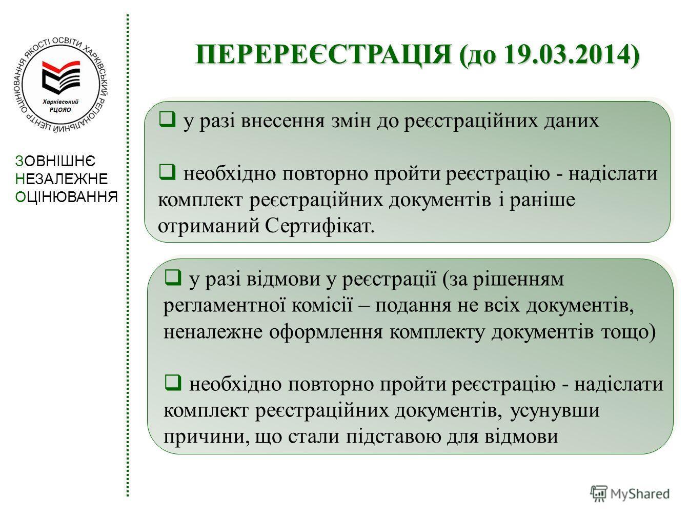 ПЕРЕРЕЄСТРАЦІЯ (до 19.03.2014) у разі відмови у реєстрації (за рішенням регламентної комісії – подання не всіх документів, неналежне оформлення комплекту документів тощо) необхідно повторно пройти реєстрацію - надіслати комплект реєстраційних докумен