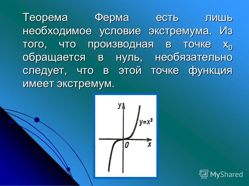 Теорема Ферма есть лишь необходимое условие экстремума. Из того, что производная в точке х 0 обращается в нуль, необязательно следует, что в этой точке функция имеет экстремум.
