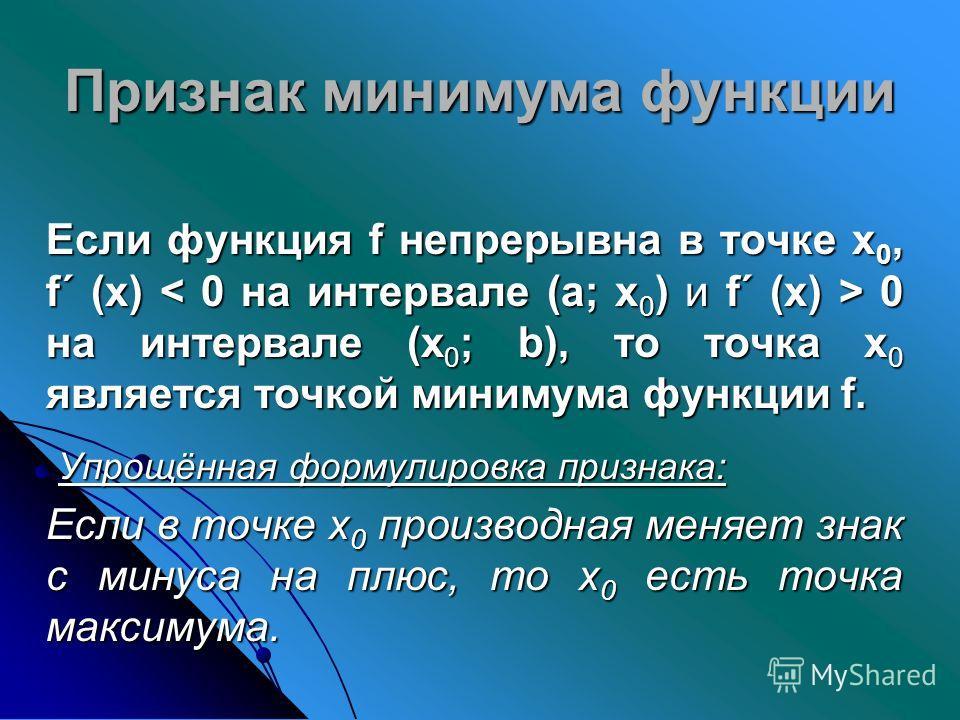 Признак минимума функции Если функция f непрерывна в точке х 0, f´ (х) 0 на интервале (х 0 ; b), то точка х 0 является точкой минимума функции f. Если функция f непрерывна в точке х 0, f´ (х) 0 на интервале (х 0 ; b), то точка х 0 является точкой мин