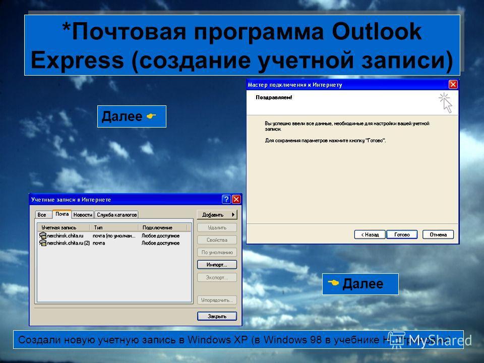 *Почтовая программа Outlook Express (создание учетной записи) Далее Создали новую учетную запись в Windows XP (в Windows 98 в учебнике Н. Угринович)