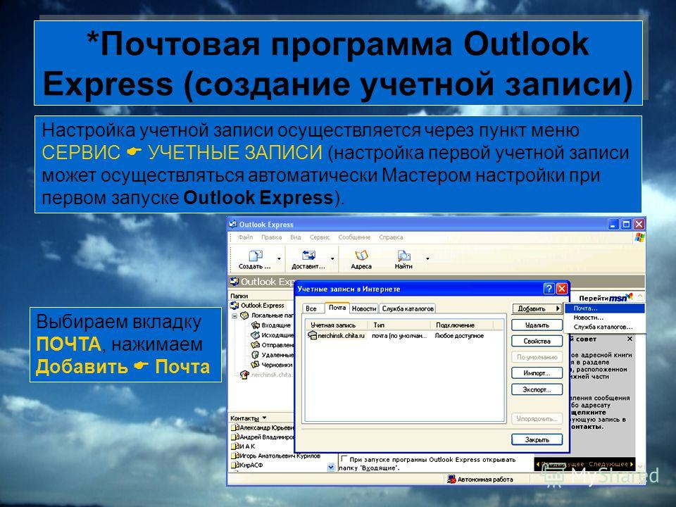 *Почтовая программа Outlook Express (создание учетной записи) Настройка учетной записи осуществляется через пункт меню СЕРВИС УЧЕТНЫЕ ЗАПИСИ (настройка первой учетной записи может осуществляться автоматически Мастером настройки при первом запуске Out