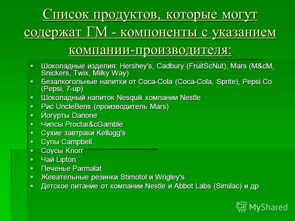 Список продуктов, которые могут содержат ГМ - компоненты с указанием компании-производителя: Шоколадные изделия: Hershey's, Cadbury (FruitScNut), Mars (M&cM, Snickers, Twix, Milky Way) Шоколадные изделия: Hershey's, Cadbury (FruitScNut), Mars (M&cM,
