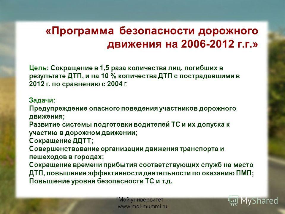 «Программа безопасности дорожного движения на 2006-2012 г.г.» Цель: Сокращение в 1,5 раза количества лиц, погибших в результате ДТП, и на 10 % количества ДТП с пострадавшими в 2012 г. по сравнению с 2004 г. Задачи: Предупреждение опасного поведения у