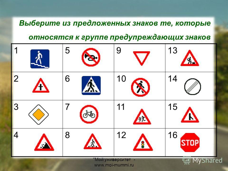 Мой университет - www.moi-mummi.ru Выберите из предложенных знаков те, которые относятся к группе предупреждающих знаков 15913 261014 371115 481216
