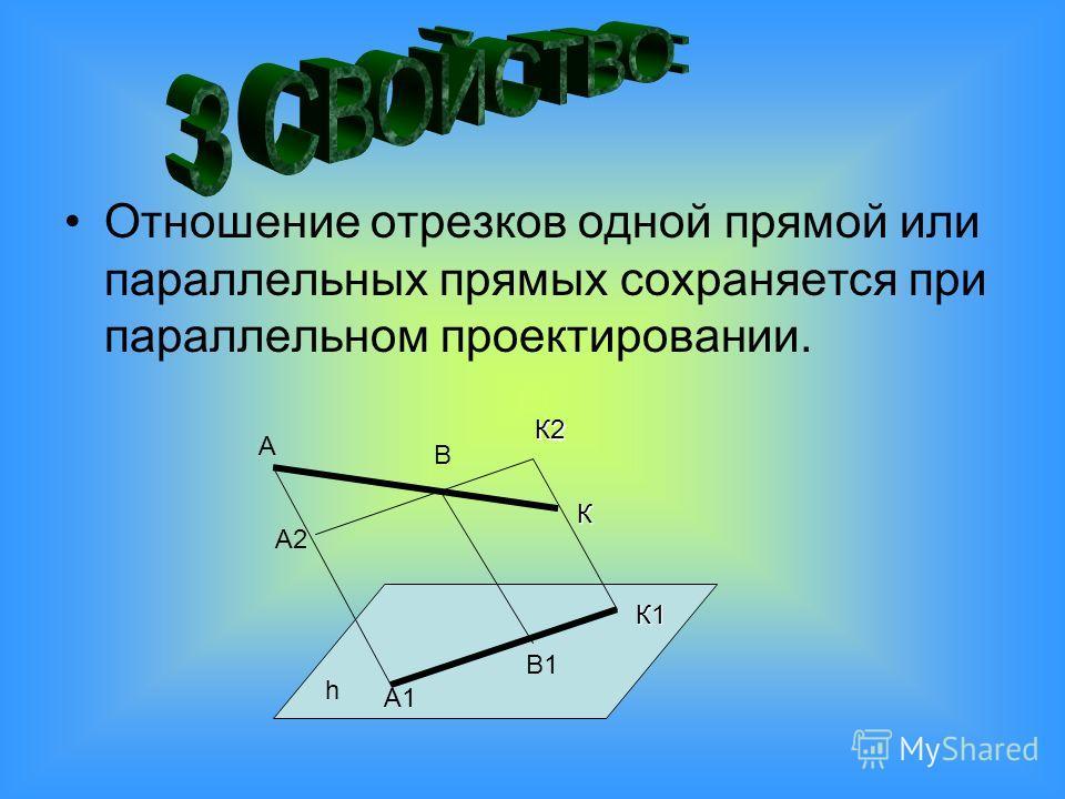 Отношение отрезков одной прямой или параллельных прямых сохраняется при параллельном проектировании. А В А1 А2 В1 h К К2 К1