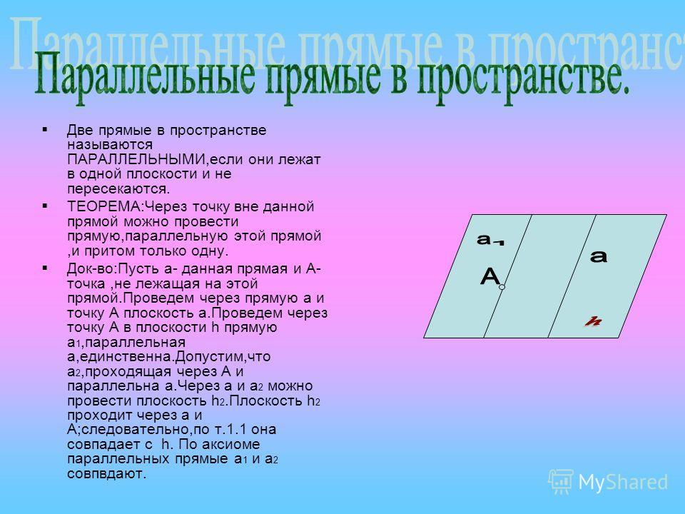 Две прямые в пространстве называются ПАРАЛЛЕЛЬНЫМИ,если они лежат в одной плоскости и не пересекаются. ТЕОРЕМА:Через точку вне данной прямой можно провести прямую,параллельную этой прямой,и притом только одну. Док-во:Пусть а- данная прямая и А- точка