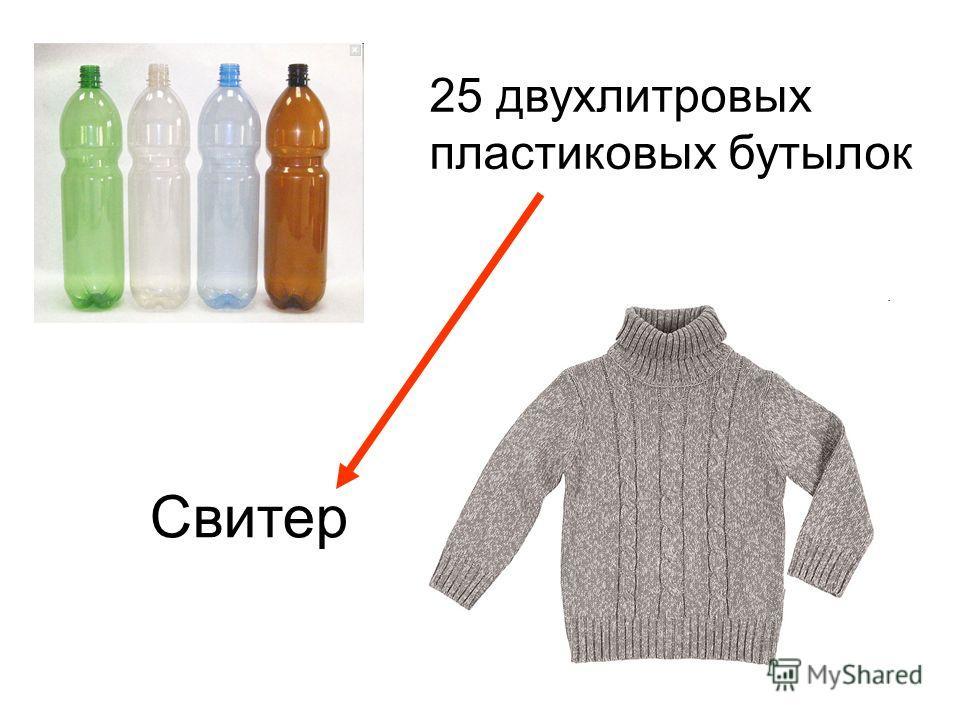 25 двухлитровых пластиковых бутылок Свитер