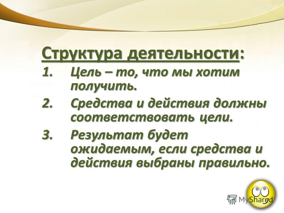 1.Цель – то, что мы хотим получить. 2.Средства и действия должны соответствовать цели. 3.Результат будет ожидаемым, если средства и действия выбраны правильно. Структура деятельности: