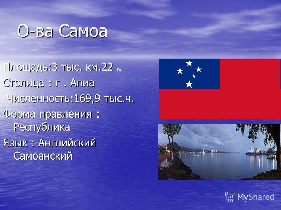 О-ва Самоа Площадь:3 тыс. км.22 Кв Столица : г. Апиа Численность:169,9 тыс.ч. Численность:169,9 тыс.ч. Форма правления : Республика Язык : Английский Самоанский