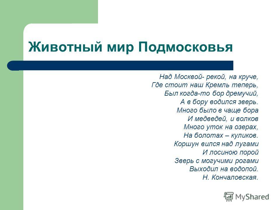 Животный мир Подмосковья Над Москвой- рекой, на круче, Где стоит наш Кремль теперь, Был когда-то бор дремучий, А в бору водился зверь. Много было в чаще бора И медведей, и волков Много уток на озерах, На болотах – куликов. Коршун вился над лугами И л