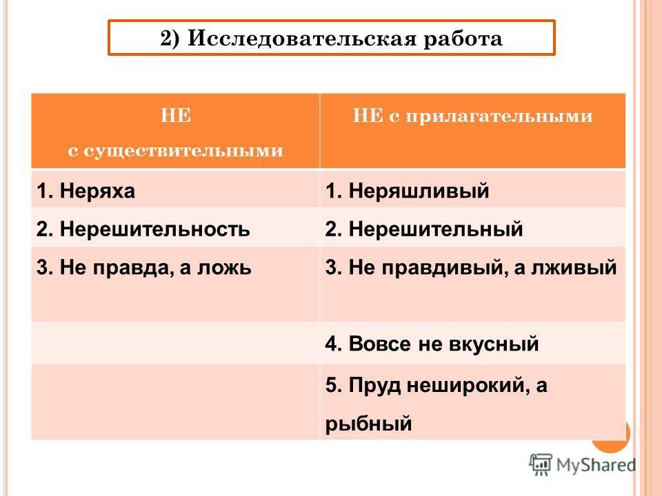 2) Исследовательская работа НЕ с существительными НЕ с прилагательными 1. Неряха1. Неряшливый 2. Нерешительность2. Нерешительный 3. Не правда, а ложь3. Не правдивый, а лживый 4. Вовсе не вкусный 5. Пруд неширокий, а рыбный