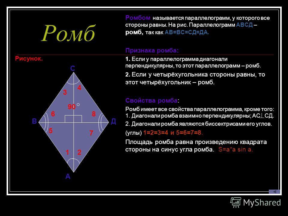 Ромб Рисунок. Ромбом называется параллелограмм, у которого все стороны равны. На рис. Параллелограмм АВСД – ромб, так как АВ=ВС=СД=ДА. Признака ромба: 1. Если у параллелограмма диагонали перпендикулярны, то этот параллелограмм – ромб. 2. Если у четыр