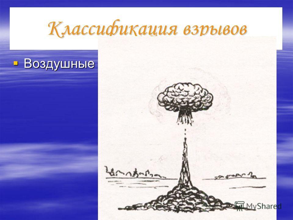 Классификация взрывов Воздушные Воздушные