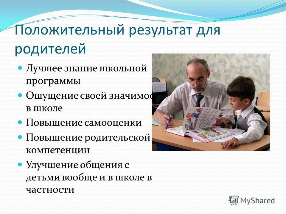 Положительный результат для родителей Лучшее знание школьной программы Ощущение своей значимости в школе Повышение самооценки Повышение родительской компетенции Улучшение общения с детьми вообще и в школе в частности