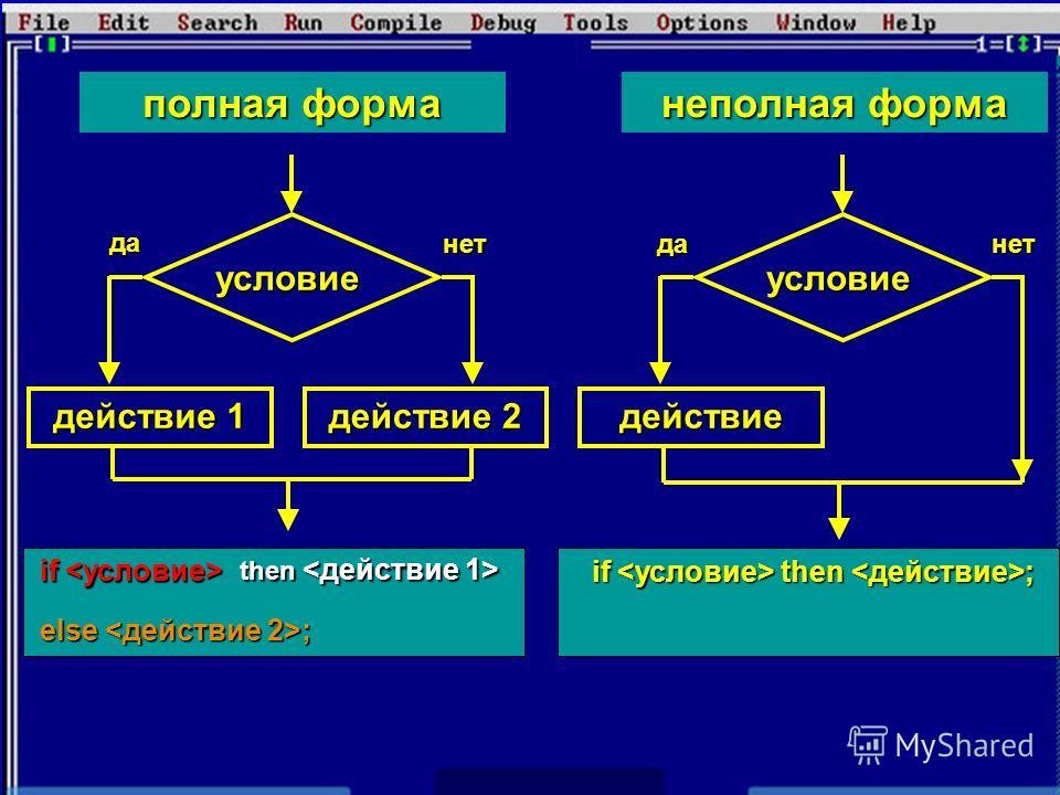 действие 1 действие 2 условие полная форманеполная форма действие условие да нетданет if  then <