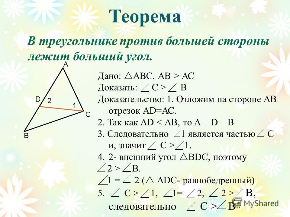 Теорема В треугольнике против большей стороны лежит больший угол. В С А Дано: АВС, АВ > АС Доказать: С > В Доказательство: 1. Отложим на стороне АВ отрезок АD=АС. 2. Так как АD < АВ, то А – D – В 3. Следовательно 1 является частью С и, значит С > 1.