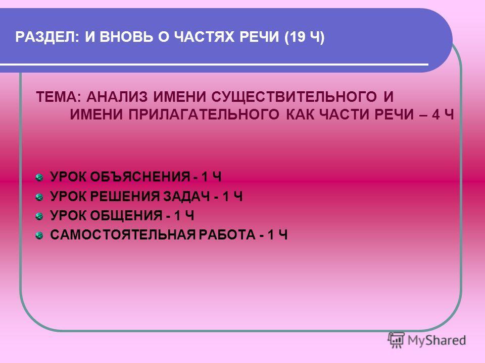 РАЗДЕЛ: И ВНОВЬ О ЧАСТЯХ РЕЧИ (19 Ч) ТЕМА: АНАЛИЗ ИМЕНИ СУЩЕСТВИТЕЛЬНОГО И ИМЕНИ ПРИЛАГАТЕЛЬНОГО КАК ЧАСТИ РЕЧИ – 4 Ч УРОК ОБЪЯСНЕНИЯ - 1 Ч УРОК РЕШЕНИЯ ЗАДАЧ - 1 Ч УРОК ОБЩЕНИЯ - 1 Ч САМОСТОЯТЕЛЬНАЯ РАБОТА - 1 Ч