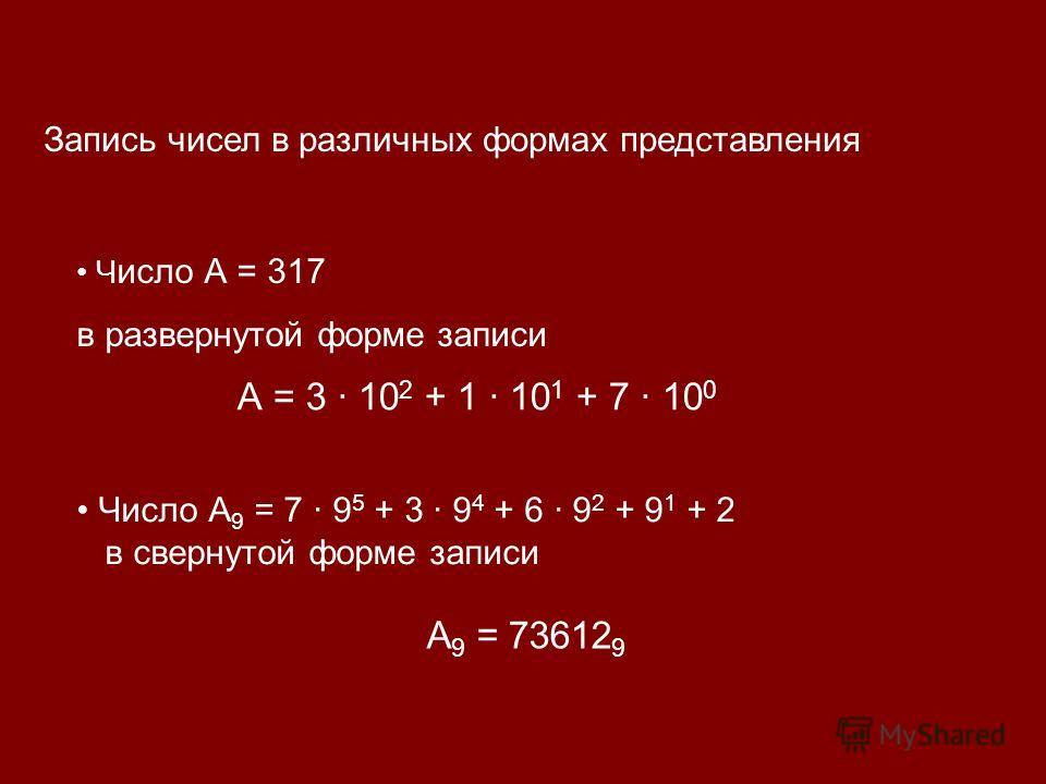 Запись чисел в различных формах представления Число А 9 = 7 · 9 5 + 3 · 9 4 + 6 · 9 2 + 9 1 + 2 в свернутой форме записи Ч исло А = 317 в развернутой форме записи А = 3 · 10 2 + 1 · 10 1 + 7 · 10 0 А 9 = 73612 9
