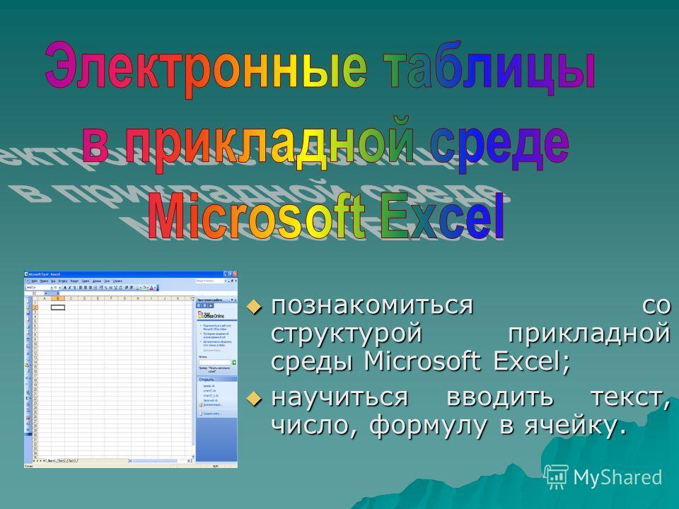 познакомиться со структурой прикладной среды Microsoft Excel; познакомиться со структурой прикладной среды Microsoft Excel; научиться вводить текст, число, формулу в ячейку. научиться вводить текст, число, формулу в ячейку.