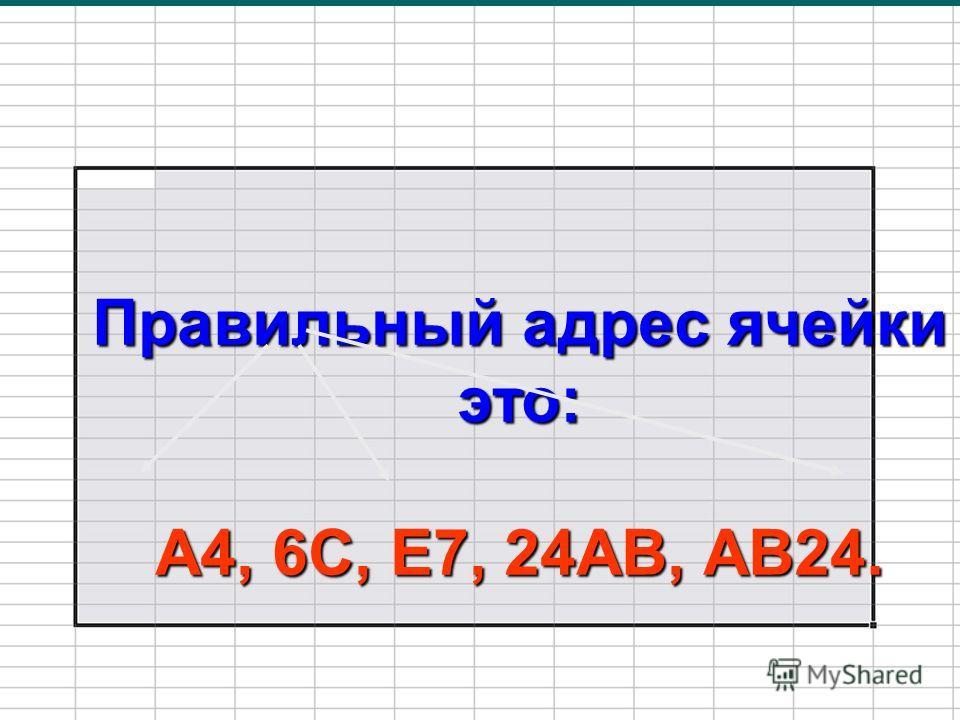Правильный адрес ячейки это: А4, 6С, Е7, 24АВ, АВ24.