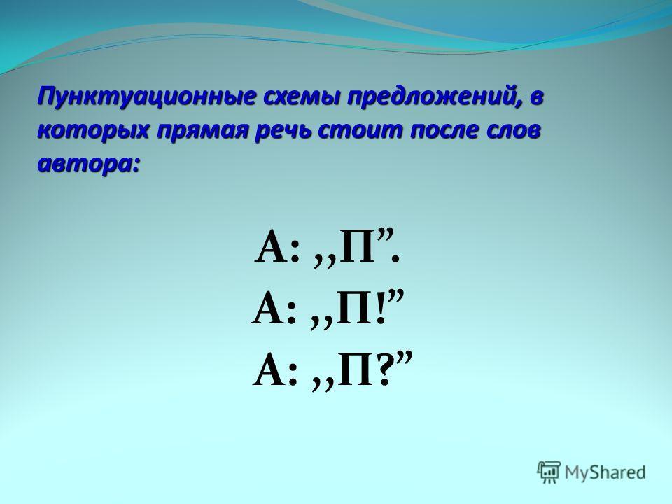 Пунктуационные схемы предложений, в которых прямая речь стоит после слов автора: А:,,П. А:,,П! А:,,П?