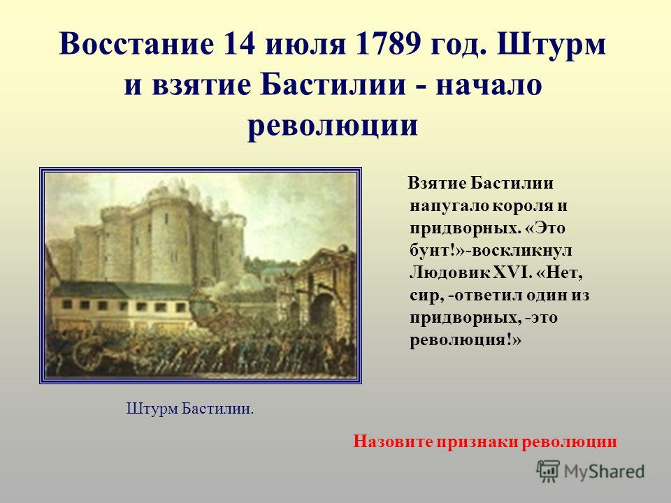 Восстание 14 июля 1789 год. Штурм и взятие Бастилии - начало революции Взятие Бастилии напугало короля и придворных. «Это бунт!»-воскликнул Людовик XVI. «Нет, сир, -ответил один из придворных, -это революция!» Штурм Бастилии. Назовите признаки револю